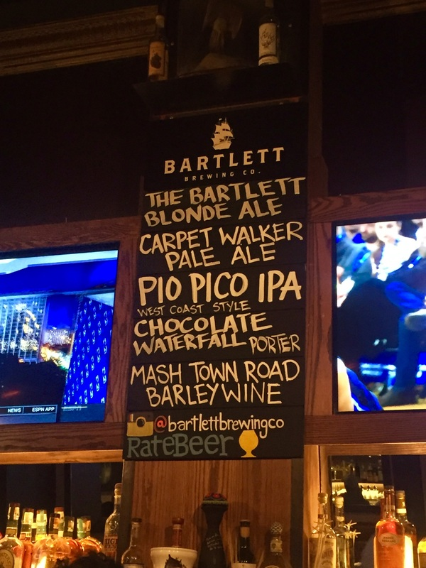 Bartlett Hall beer menu