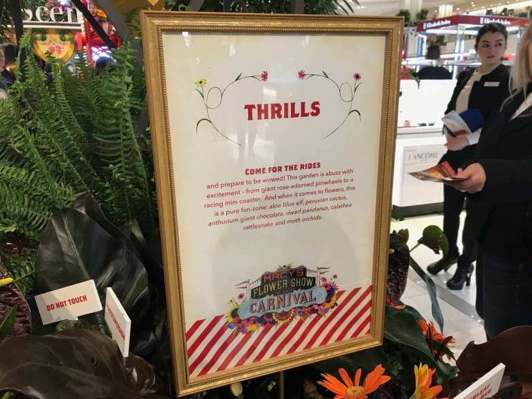 Macy's Flower Show carnival thrills sign