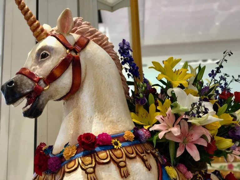 Merry go round horse at the Macy's Flower Show