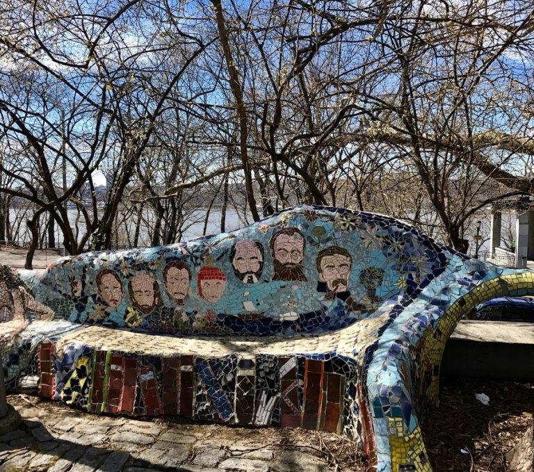 Artwork seating in Riverside Park