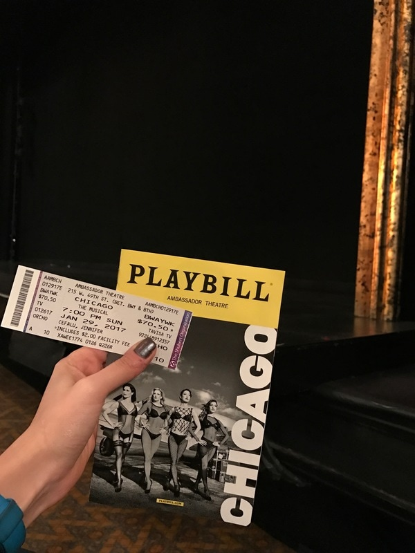 Chicago playbill and ticket