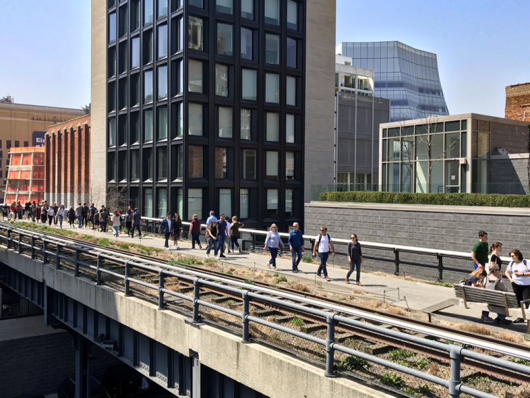 People walking along the High Line