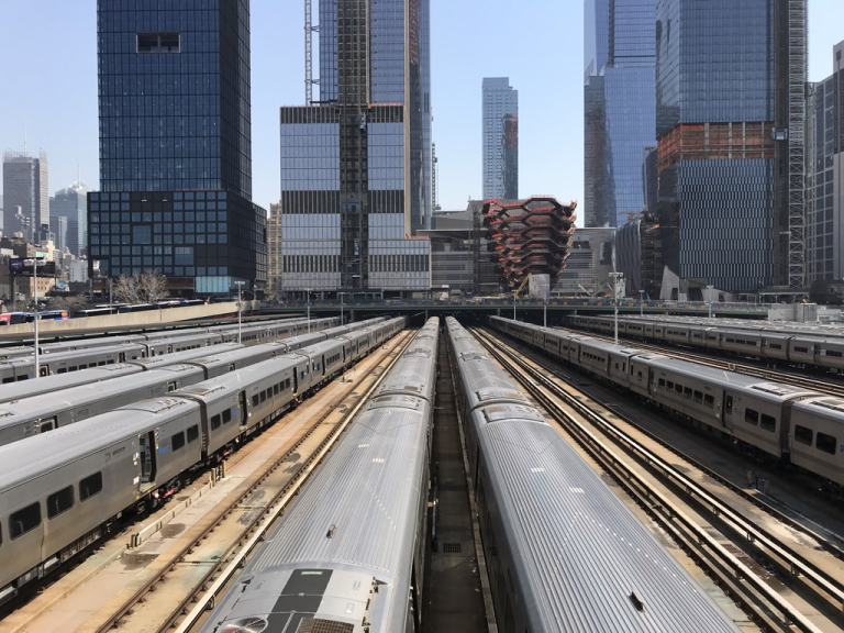 LIRR trains in the West Side Yard