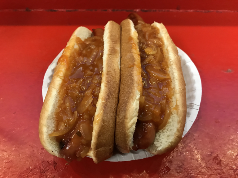 Gray's Papaya hot dogs with onions