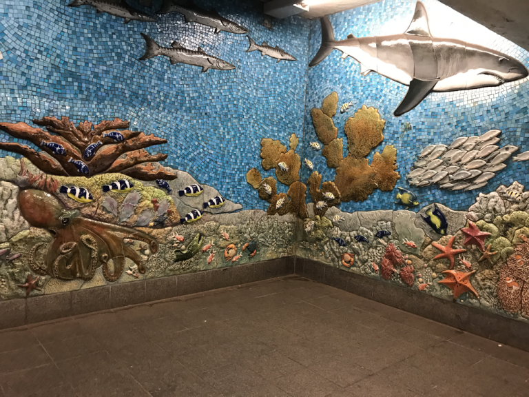 Museum of Natural History fish subway mural