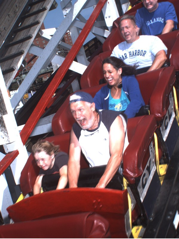 Scared riders on a rollercoaster